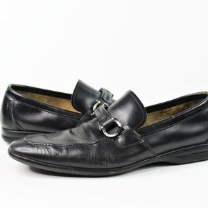 Salvatore Ferragamo Black Horsebit Leather Loafers